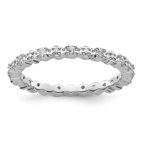 Sterling Silver Stackable White Topaz & Diamond Ring