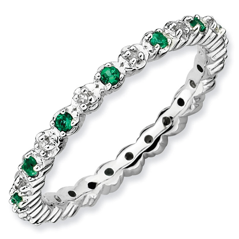 Sterling Silver Stackable Created Emerald Diamond Eternity Ring