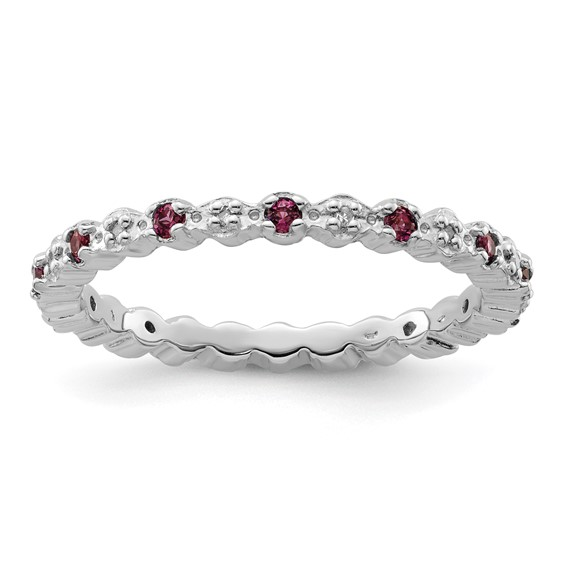Sterling Silver Rhodolite Garnet & Diamond Eternity Ring