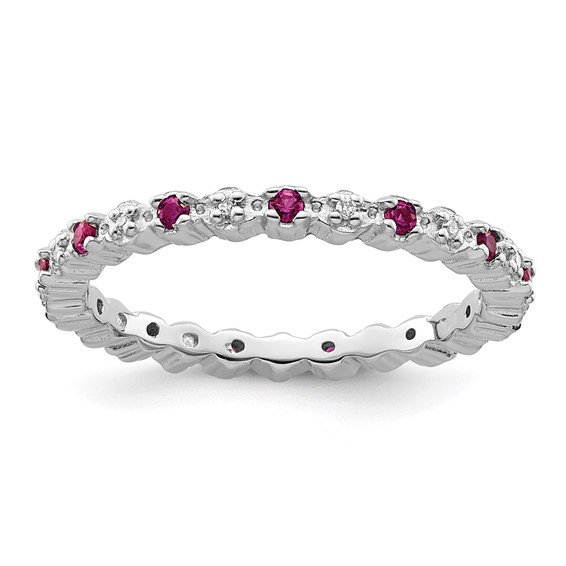 Sterling Silver Stackable 1/4 ct Created Ruby and Diamond Ring