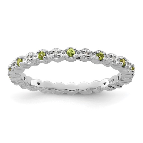 Sterling Silver Stackable Peridot & Diamond Eternity Ring