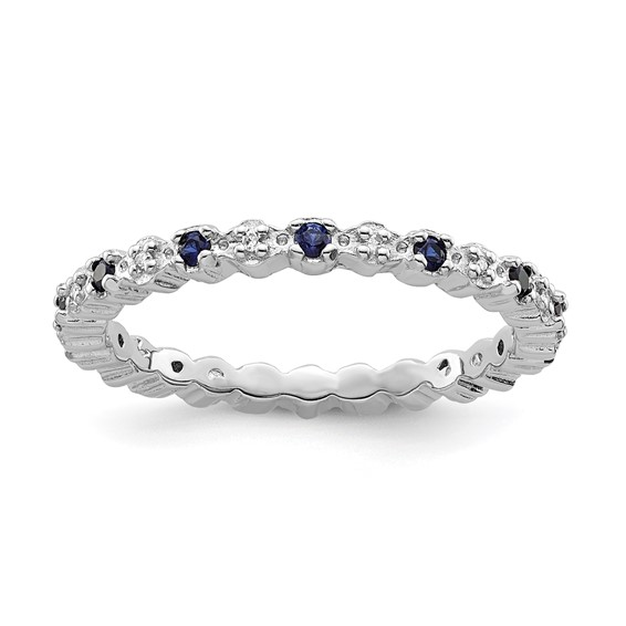 Sterling Silver Stackable Created Sapphire & Diamond Eternity Ring
