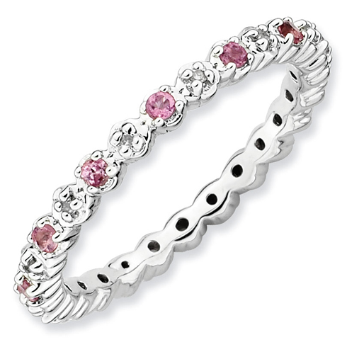 Sterling Silver Stackable Pink Tourmaline and Diamond Eternity Ring
