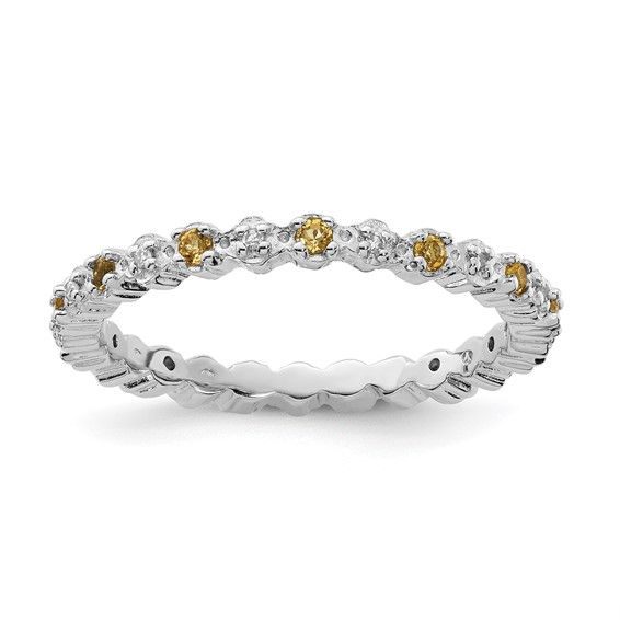 Sterling Silver Stackable 1/5 ct Citrine & Diamond Eternity Ring