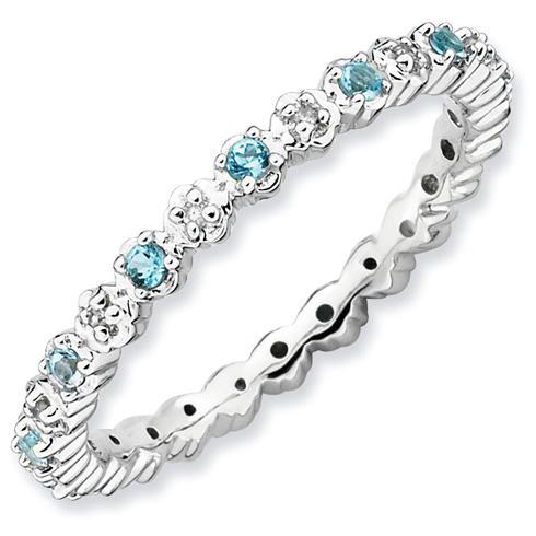 Sterling Silver Stackable 1/4 ct Blue Topaz and Diamond Ring