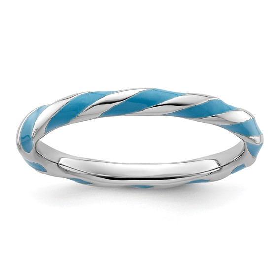 Sterling Silver Twisted Blue Enameled 2.4mm Stackable Ring