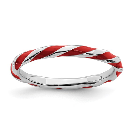 Sterling Silver Twisted Red Enameled 2.4mm Stackable Ring