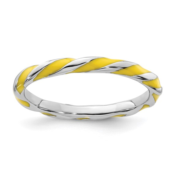 Sterling Silver Twisted Yellow Enameled 2.4mm Stackable Ring