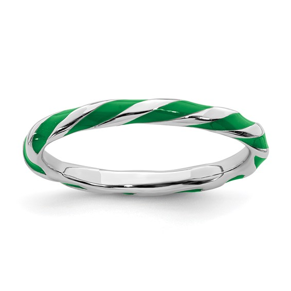 Sterling Silver Twisted Green Enameled 2.4mm Stackable Ring