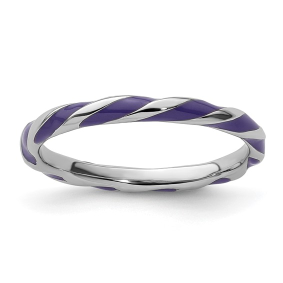 Sterling Silver Twisted Purple Enameled 2.4mm Stackable Ring