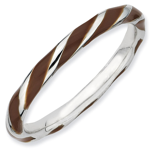 Sterling Silver Twisted Brown Enameled 2.4mm Stackable Ring