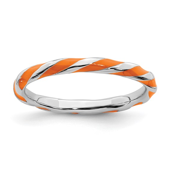 Sterling Silver Twisted Orange Enameled 2.4mm Stackable Ring