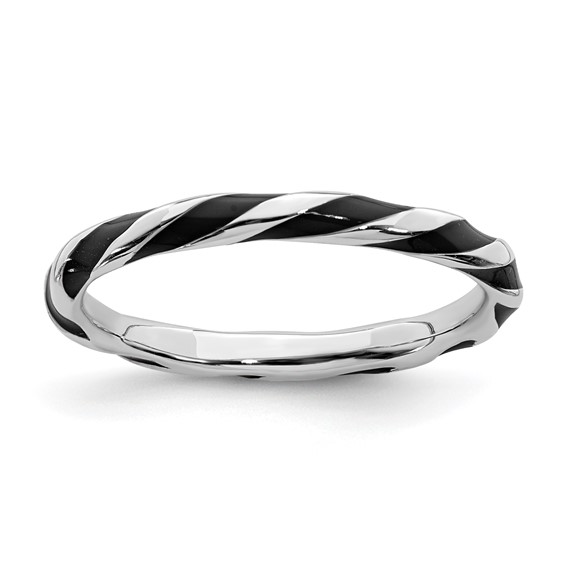 Sterling Silver Twisted Black Enameled 2.4mm Stackable Ring