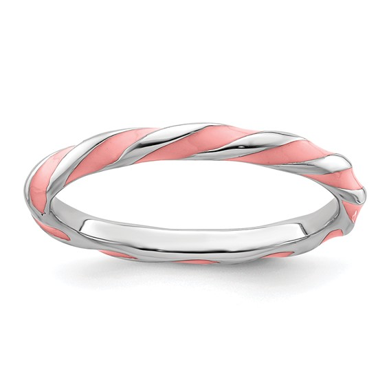 Sterling Silver Twisted Pink Enameled 2.4mm Stackable Ring