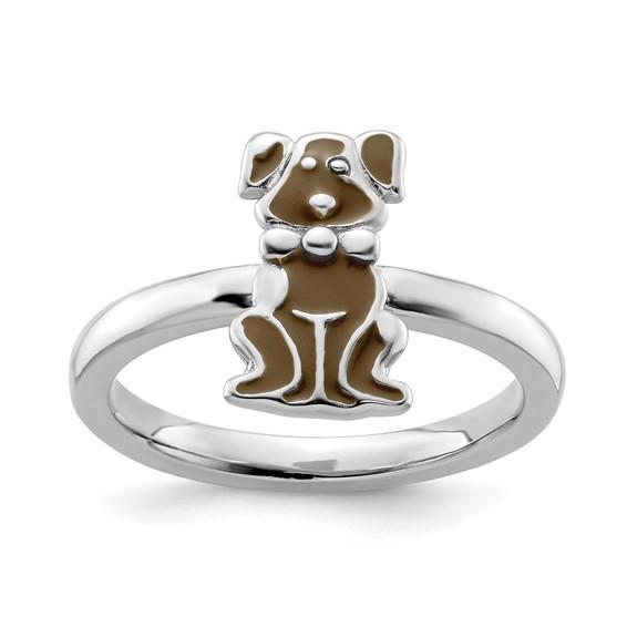 Sterling Silver Brown Enameled Dog Stackable Ring