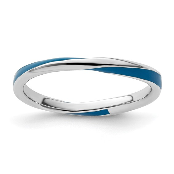 Sterling Silver Twisted Blue Enameled 2.5mm Stackable Ring