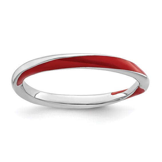 Sterling Silver Twisted Red Enameled 2.5mm Stackable Ring