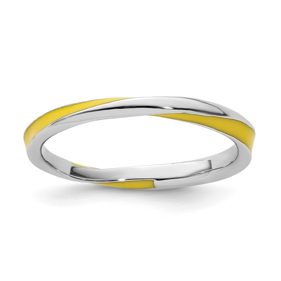 Sterling Silver Twisted Yellow Enameled 2.5mm Stackable Ring
