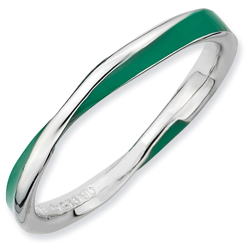 Sterling Silver Twisted Green Enameled 2.5mm Stackable Ring