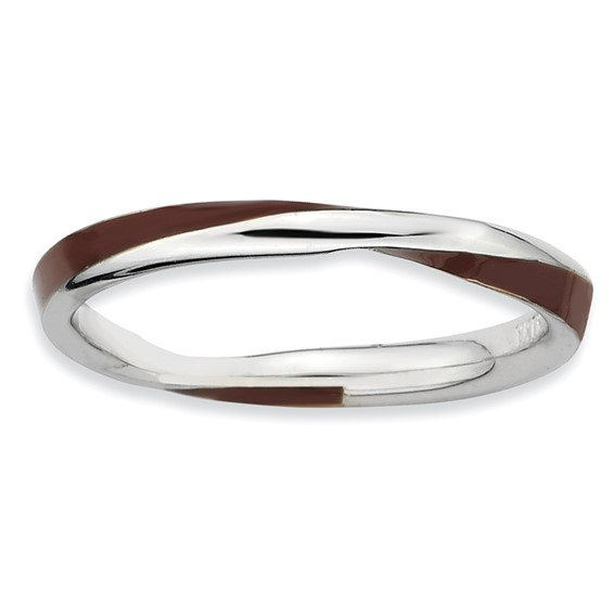 Sterling Silver Twisted Brown Enameled 2.5mm Stackable Ring