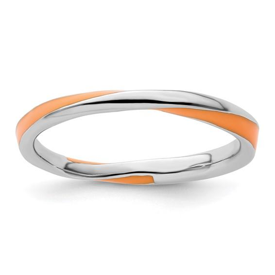 Sterling Silver Twisted Orange Enameled 2.5mm Stackable Ring
