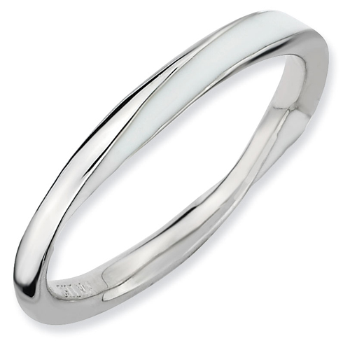 Sterling Silver Twisted White Enameled 2.5mm Stackable Ring