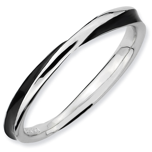 Sterling Silver Twisted Black Enameled 2.5mm Stackable Ring
