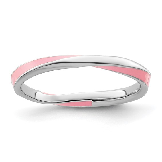 Sterling Silver Twisted Pink Enameled 2.5mm Stackable Ring