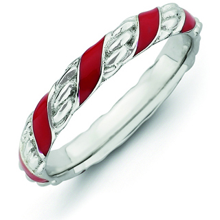 Sterling Silver Stackable Red Ribbons Enameled Ring