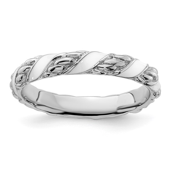 Sterling Silver Stackable White Ribbons Enameled Ring