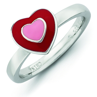 Sterling Silver Stackable Expressions Enameled Hearts Ring