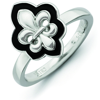 Sterling Silver Stackable Expressions Enameled Fleur De Lis Ring