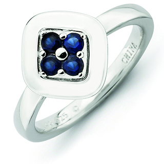 Sterling Silver Stackable Expressions Created Sapphire Cluster Ring