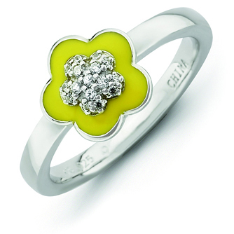 Sterling Silver Stackable Expressions Yellow Enameled & CZ Ring