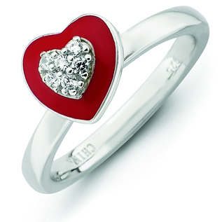 Sterling Silver Stackable Expressions Red Enamel CZ Heart Ring