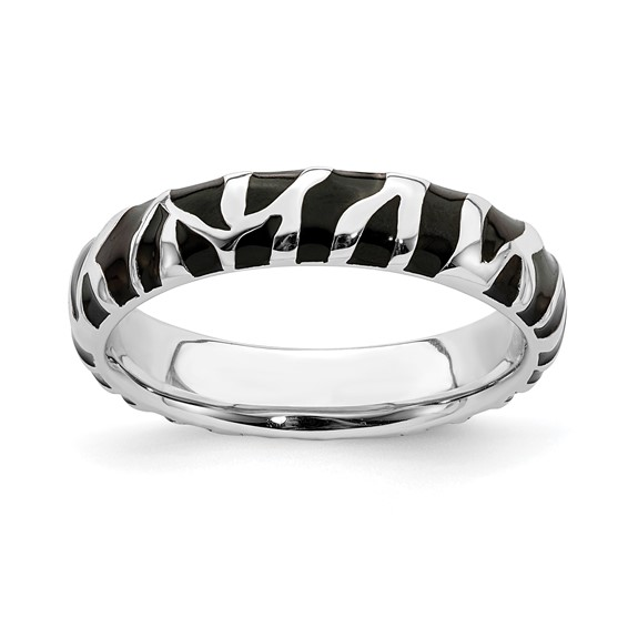 Sterling Silver Stackable Expressions Enameled Zebra Print Ring