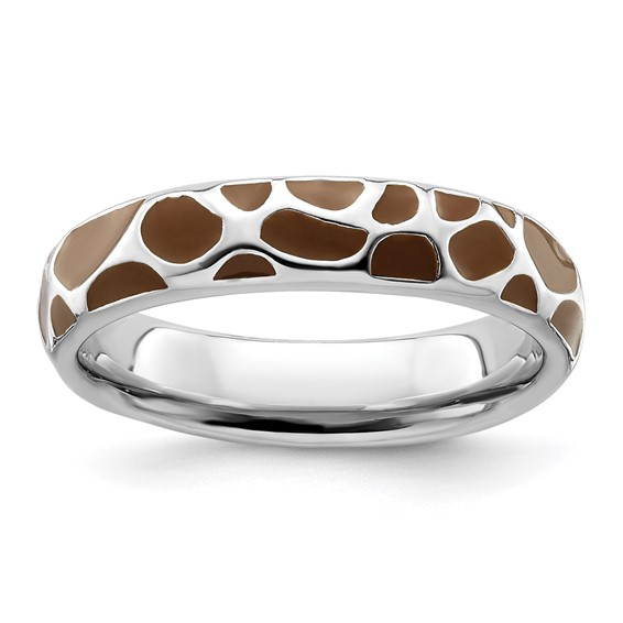Sterling Silver Stackable Brown Enameled Print Ring