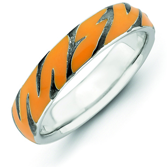 Sterling Silver Stackable Expressions Enameled Tiger Print Ring
