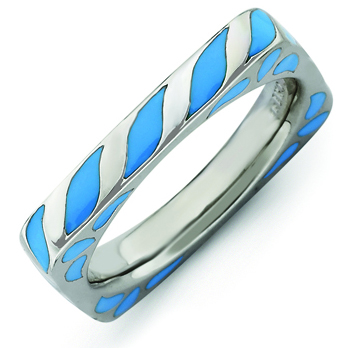 Sterling Silver Stackable Expressions Blue Enameled Square Ring