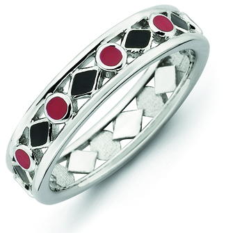 Sterling Silver Stackable Expressions Black Red Enameled Ring