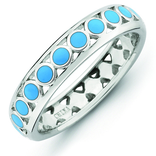 Sterling Silver Stackable Expressions Blue Circles Enameled Ring