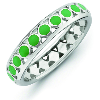 Sterling Silver Stackable Expressions Green Circles Enameled Ring