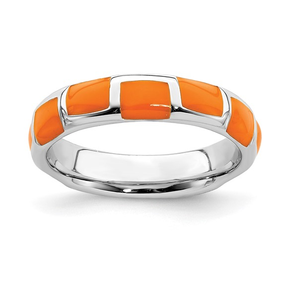 Sterling Silver Stackable Orange Enamel Panel Ring