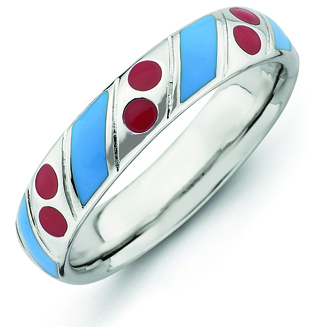 Sterling Silver Stackable Blue Stripes Red Dots Enamel Ring