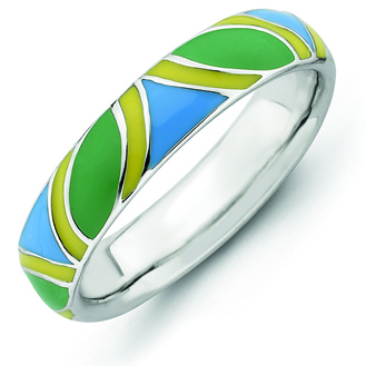 Sterling Silver Stackable Expressions Multi color Enameled Ring
