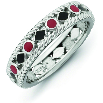 Sterling Silver Stackable Expressions Red Black Enameled Ring