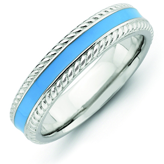 Sterling Silver Stackable Light Blue Enamel Woven Ring