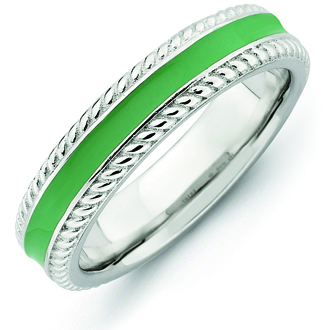 Sterling Silver Stackable Expressions Green Enamel Woven Ring
