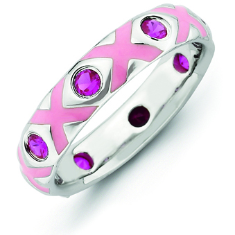 Sterling Silver Stackable Created Ruby and Pink Enamel Ring