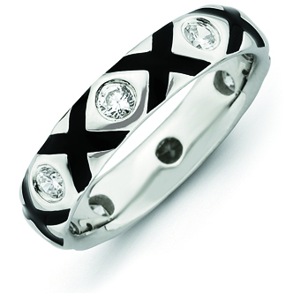 Sterling Silver Stackable Expressions CZ & Enameled Ring